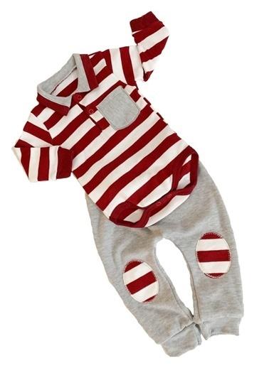 By Bebek Odam Çizgili Polo Yaka Bebek Takımı Bordo